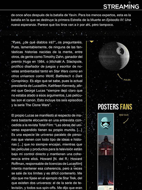 Artículo de Star Wars en la revista streaming revista Streaming